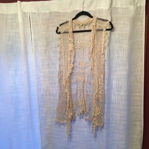Cato 26/28W Cream Lace Kimono